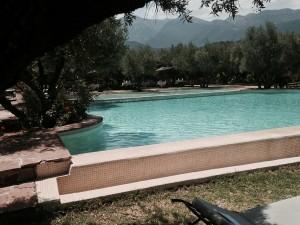Detail des Schwimmbades in den Bergen Oliveraie de Marigha