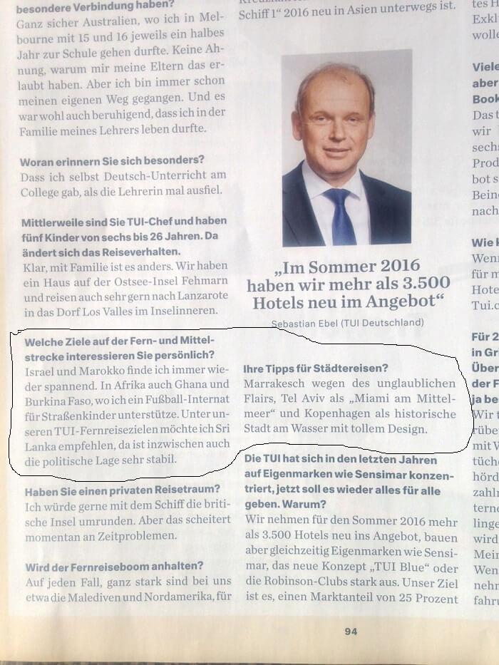 Sebastian Ebel von TUI in Deutschland mit einem Kommentar zu Marrakesch