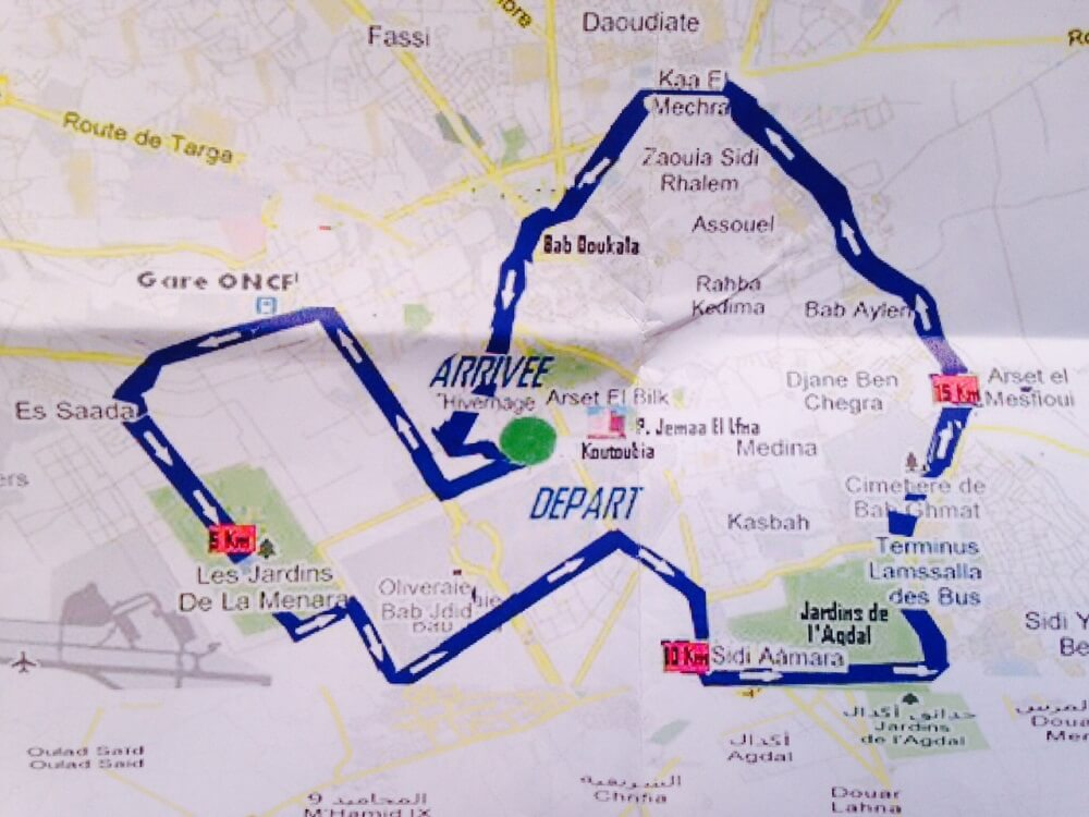 Plan Halb-Marathonstrecke des Internationalen Marathon in Marrakesch