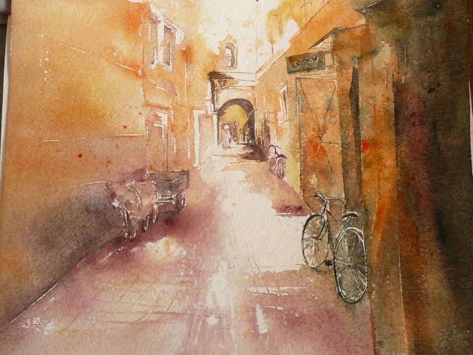 Gasse zum Riad La Maison Nomade ein Aquarell eines Gastes des Hotels