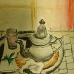 Teatime - eine Zeichnung eines Gastes im Riad La Maison Nomade