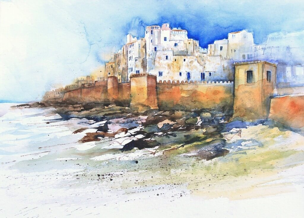 Essaouira, die Stadt am Atlantik. Eine Zeichnung der Malgruppe von Eckard Funck