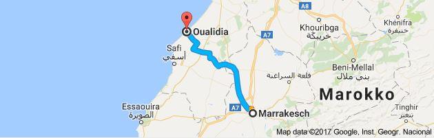 Entfernung Marrakesch - Oualidia