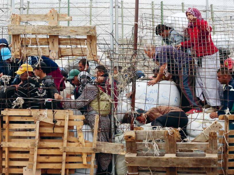 Marokkanische Lastfrauen in Melilla