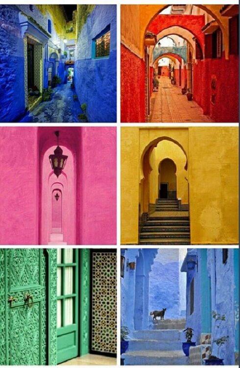 die Farben Marokkos rot, grün, blau, ocker