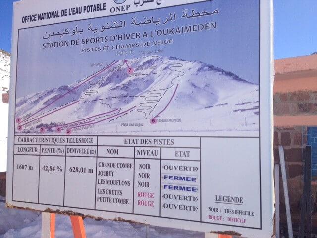 Klima in Marrakesch/6 Skilifte im Skigebiet von Oukaimeden im Hohen Atlas