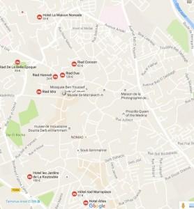 Uebersichtskarte Altstadt-Medina-Marrakesch und Hotel La Maison Nomade
