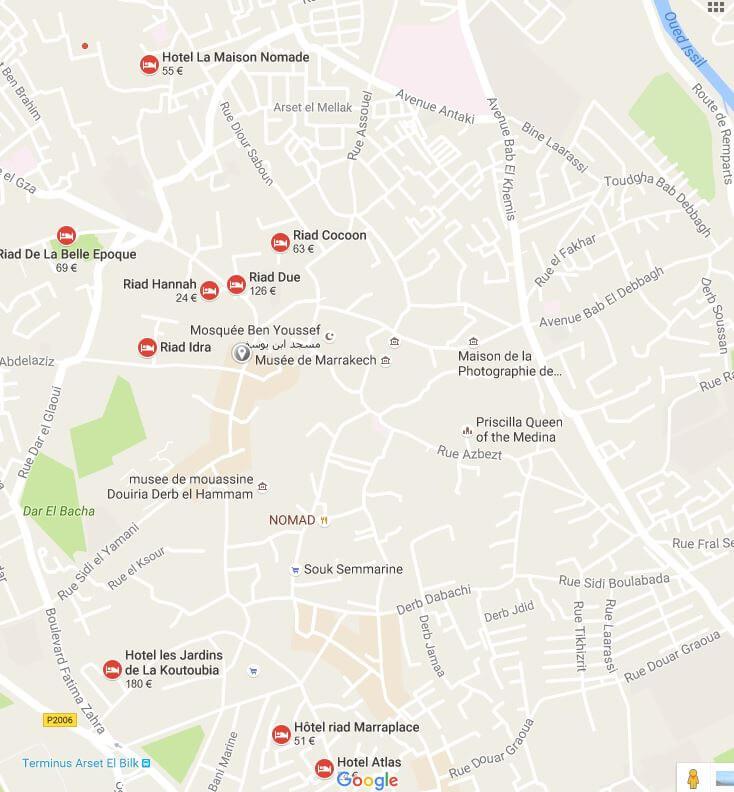 Übersichtskarte Altstadt-Medina-Marrakesch und Hotel La Maison Nomade