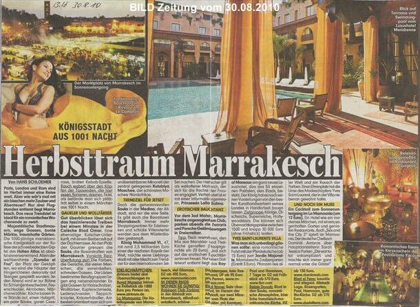 Reportage in der Bildzeitung über Marrakesch