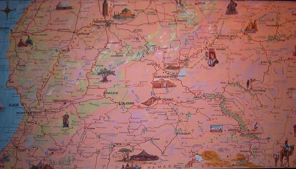Landkarte von Marokkos Süden im Hotel in Marrakesch