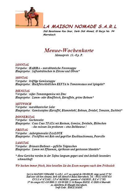 Wochen-Speisenkarte des Riad La Maison Nomade in Marrakesch