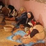 Marokkanerinnen bei der Arganöl- Herstellung