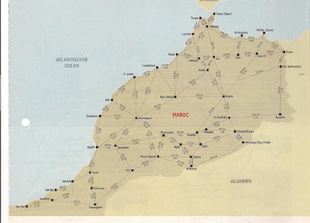 Routenplaner für Mietwagen Rundreise mit dem Riad La Maison Nomade in Marrakesch