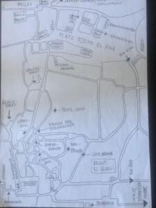 Handgezeichneter Plan von der Medina von Marrakesch