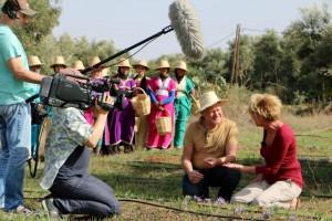 Der MDR bei Filmaufnahmen auf der Safranfarm