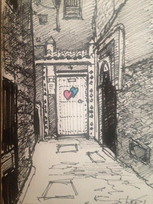 Skizze der Eingangstüre des Hotels in Marrakesch La Maison Nomade