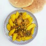 Hühnchen mit Kartoffeln und Oliven, eine Spezialität der Restaurantküche des Riad La Maison Nomade in Marrakesch