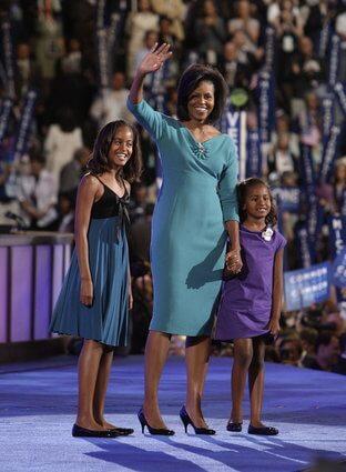 Frau Obama mit Töchtern im Juni 2016 in Marrakesch
