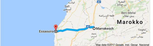 Entfernung Marrakesch - Essaouira