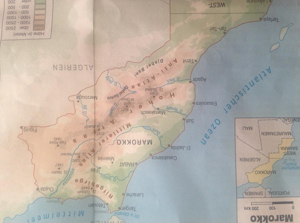 Landkarte für Reiseführer Marokko für Rundreisen mit dem Hotel La Maison Nomade