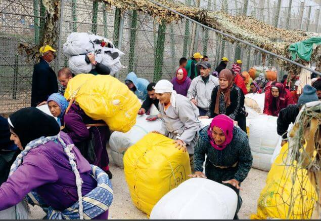 Lastfrauen am Grenzzaun von Mellila